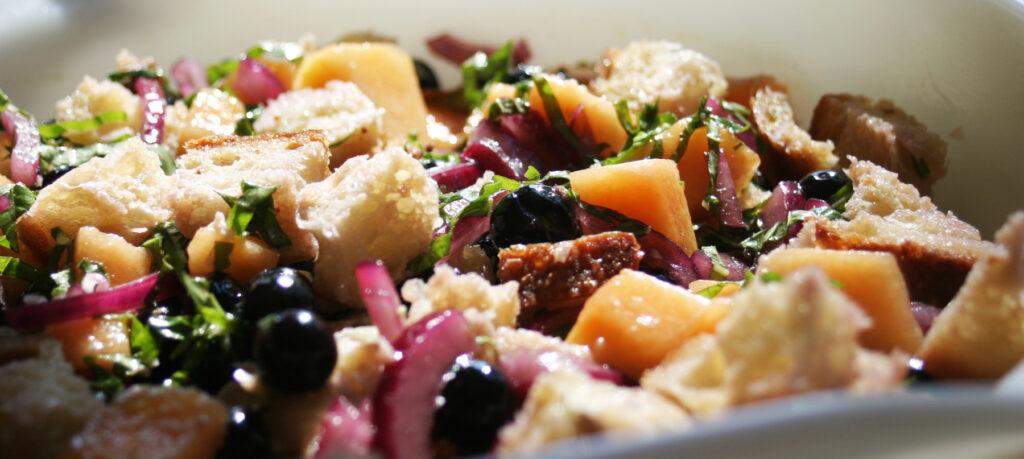 Blueberry Cantaloupe Panzanella