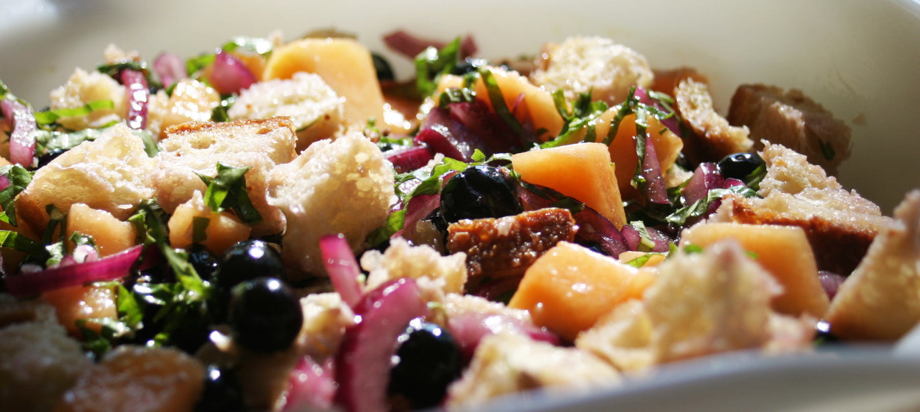 Blueberry Cantaloupe Panzanella as a fresh summer salad