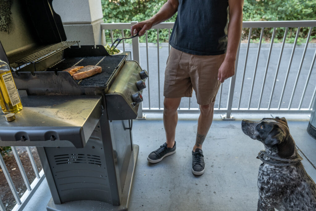 Grilling in the gazebo at Candlewood Suites