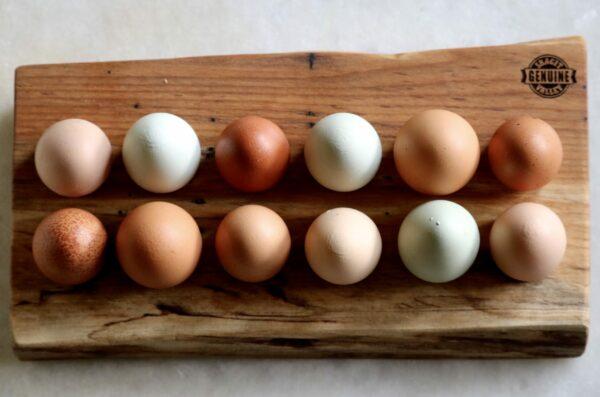 Wooded Egg Tray holding farm fresh eggs
