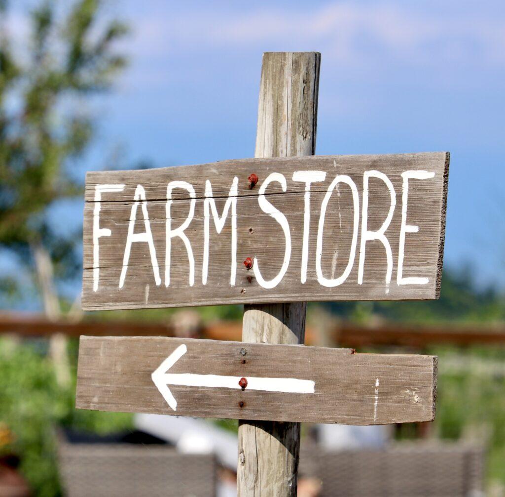 Farm Store sign at Mesman Farm in the Skagit Valley Washington